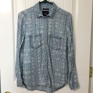 American Eagle Outfitters Printed Chambray Shirt